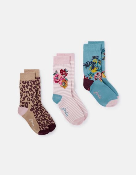 Joules Brilliant Bamboo 3Pack Socks Cotswold Floral