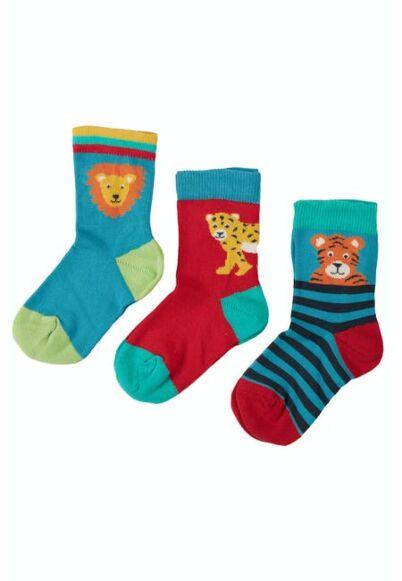 Frugi Little Socks 3 Pack Big Cat Multipack