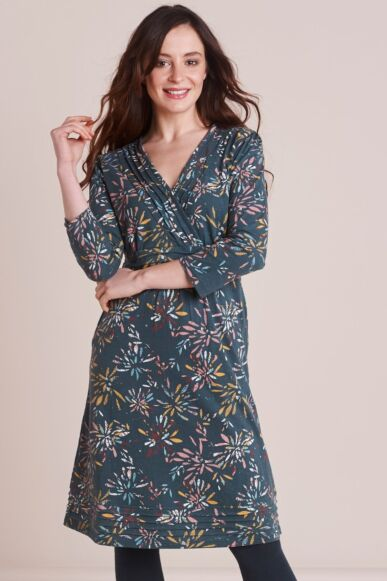 Mistral Spikey Floral Jersey Crossover Dress Multi