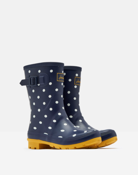 Joules Molly Mid Height Printed Wellies French Navy Spot