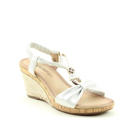 Heavenly Feet Eleanor Wedge Sandal White Silver