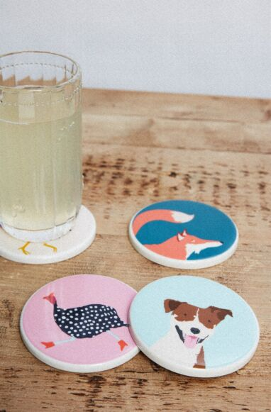 Joules Coasters Pack Of 4 Multi