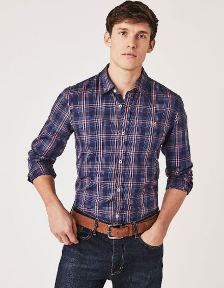 Crew Clothing Men's Stamford Slim Fit Shirt Blue Check