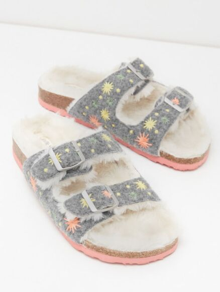 White Stuff Star Embroidered Footbed Grey Multi