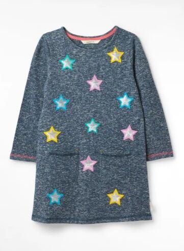 White Stuff Stars Galore Jersey Dress Washed Blue Print