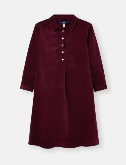 Joules Stella Pop Over Cord Dress Plum