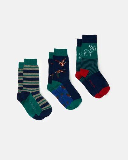 Joules Striking 3 Pack Socks Game Animal (7-12)