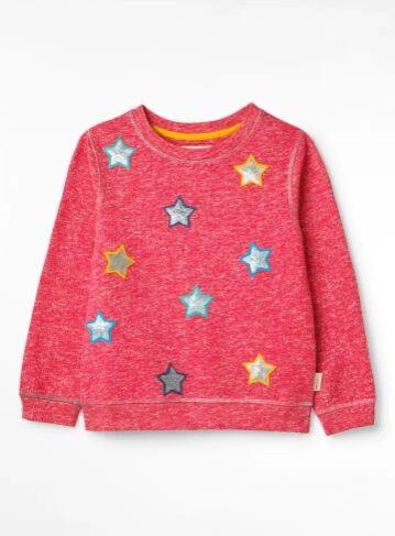 White Stuff Girls Superstar Jersey Sweatshirt Sherbet Pink