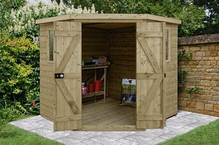 Forest Gardens Tongue & Groove Pressure Treated 7x7 Corner Shed