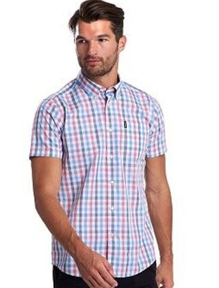 Barbour Tattersall 14 Short Sleeve Tailored Fit Shirt Red