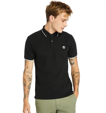 Timberland Millers River Tipped Collar Polo Shirt Black