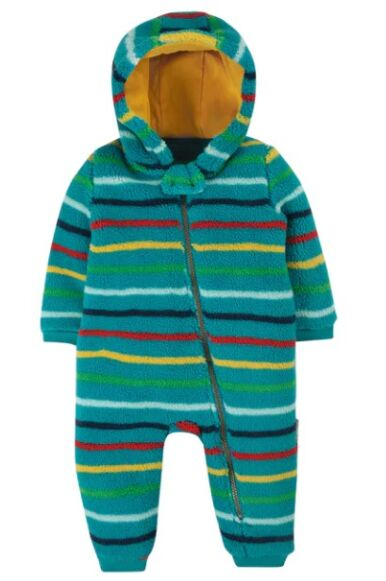 Frugi Ted Fleece Snuggle Suit Tobermory Rainbow Stripe