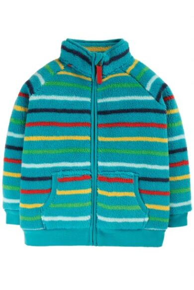 Frugi Ted Fleece Zip Up Tobermory Rainbow Stripe