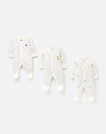 Joules 3 Pack Organic Cotton Babygrows White Ducklings