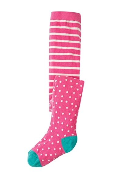 Frugi Tamsyn Tights Flamingo Polka Dot