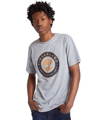 Timberland Little Cold River Tree Logo T-Shirt Grey Heather
