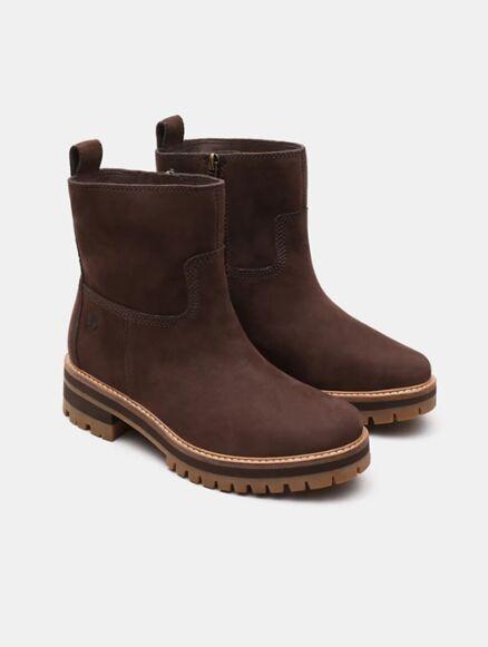 Timberland Women's Courmayeur Valley Faux Fur Boot Dark Brown