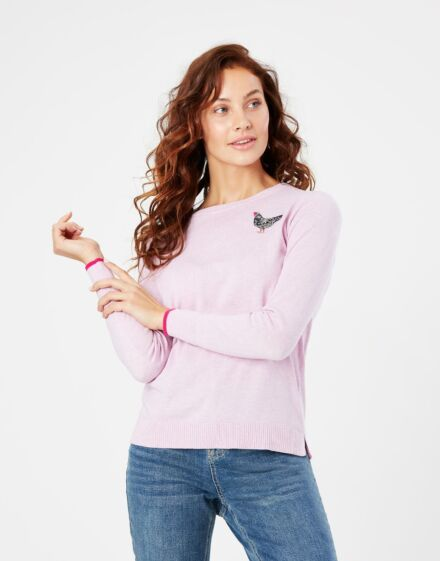 Joules Tina Embellished Crew Neck Jumper Pink Chicken