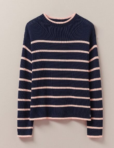 Crew Clothing Tipped Stripe Jumper Navy Stripe
