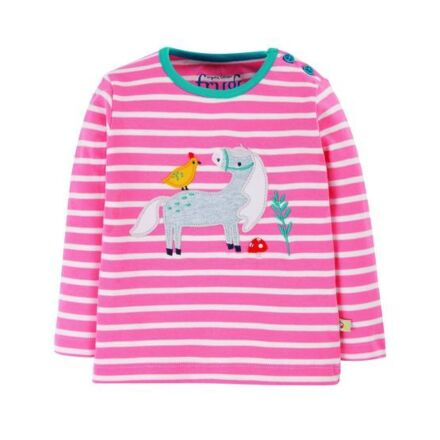 Frugi Button Applique Top Guava Pink Stripe/Horse