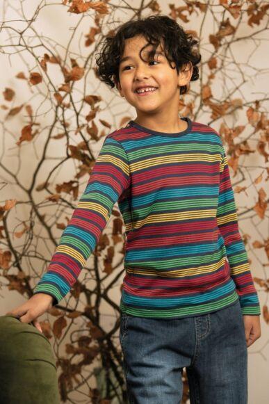 Frugi Favourite Long Sleeve Tee Tobermory Rainbow Stripe