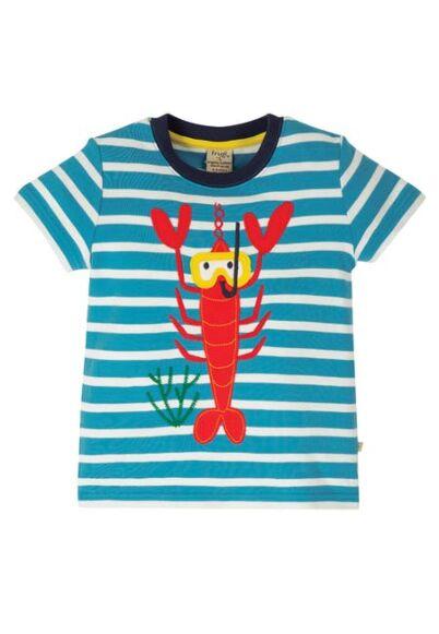 Frugi Sid Applique T-Shirt Motosu Blue Stripe/Lobster