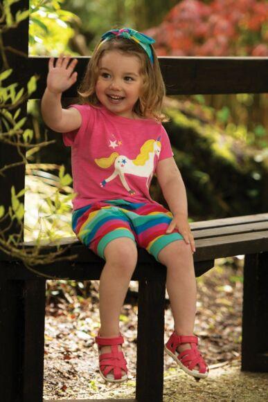 Frugi Sophia Slub T-Shirt Flamingo/Unicorn