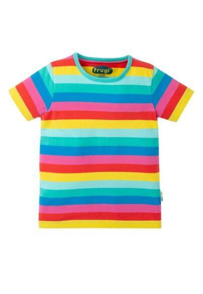 Frugi Everything T-Shirt Flamingo Multi Stripe