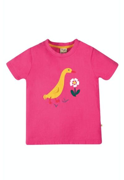 Frugi Avery Applique Top Rich Pink/Duck