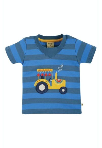 Frugi Easy On Tee Blue Stripe Tractor
