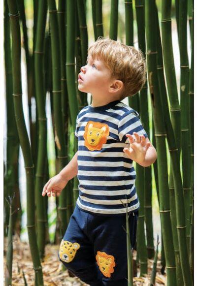 Frugi Polzeath Pocket Top Indigo Stripe/Lion