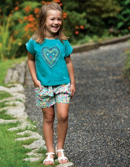 Frugi Sophia Slub T-Shirt Jewel/Heart