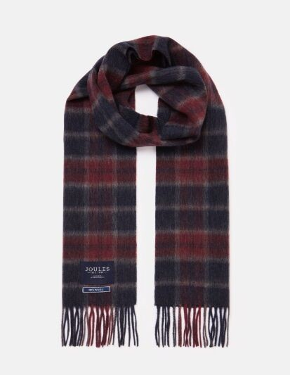 Joules Tytherton Wool Check Scarf Purple Marl Check