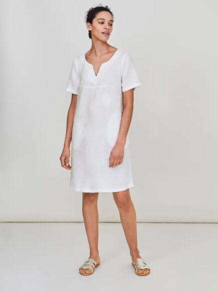 White Stuff Ondine Embroidered Linen Dress Plain White