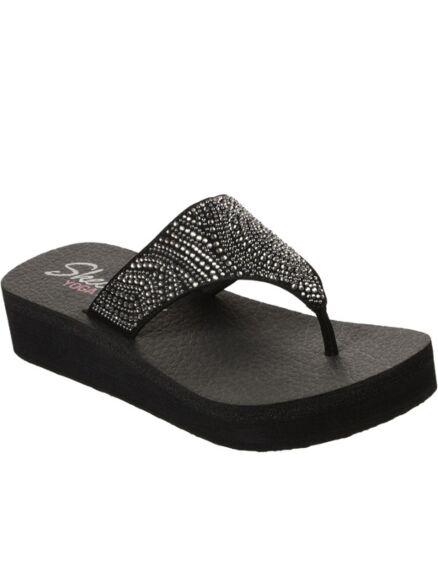 Skechers Vinyasa Stone Candy Slip On Toe Post Black