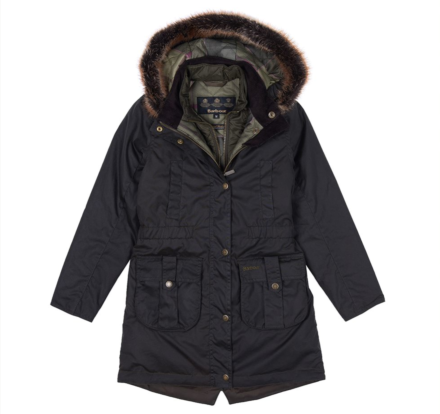 Barbour Girls Homeswood Waxed Cotton Jacket Olive