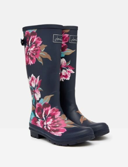 Joules Printed Wellies with Adjustable Back Gusset Navy All Over Floral