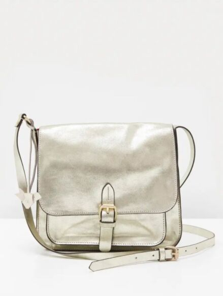 White Stuff Emma Leather Crossbody Bag Gold
