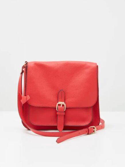 White Stuff Emma Leather Crossbody Bag Mid Red