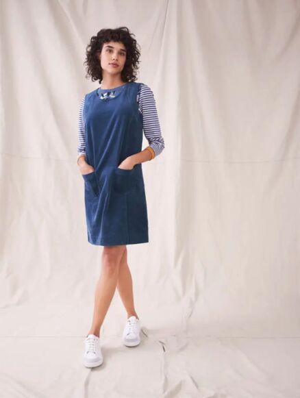 White Stuff June Organic Pinny Dress Mid Blue