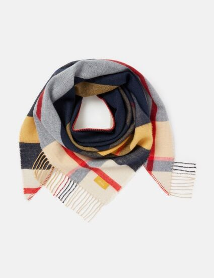 Joules Wilstow Triangle Checked Scarf Navy Gold Check