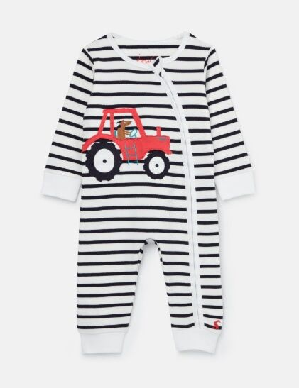 Joules Winfield Cotton Zip Babygrow White Navy Red Tractor