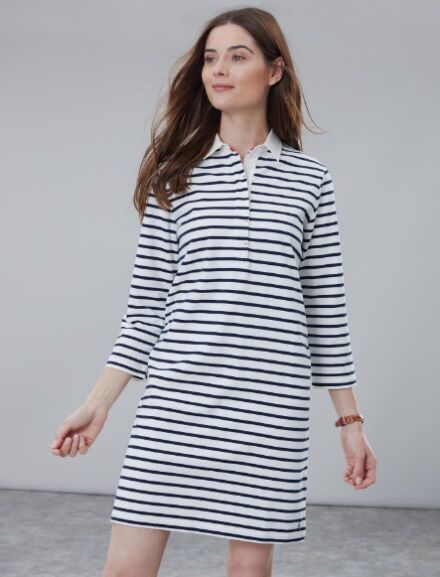 Joules Winona Rugby Dress Cream Navy Stripe