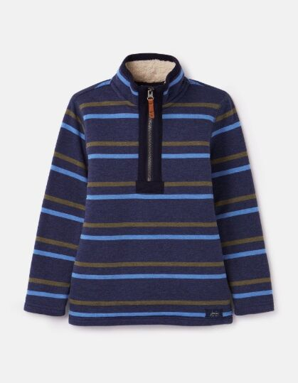Joules Winter Dale Half Zip Sweatshirt Navy Stripe