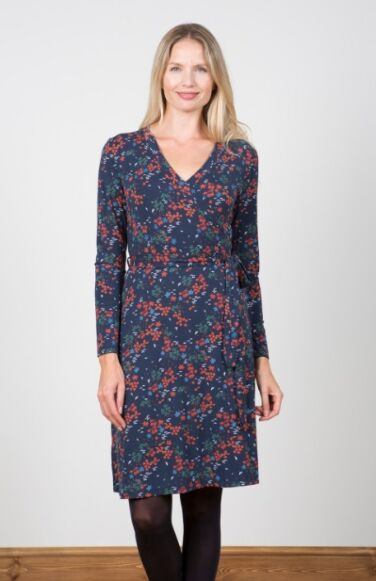 Lily and Me Winter Wrap Dress Ditsy Navy