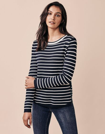 Crew Clothing Women's Mixed Stripe Jumper Navy/White