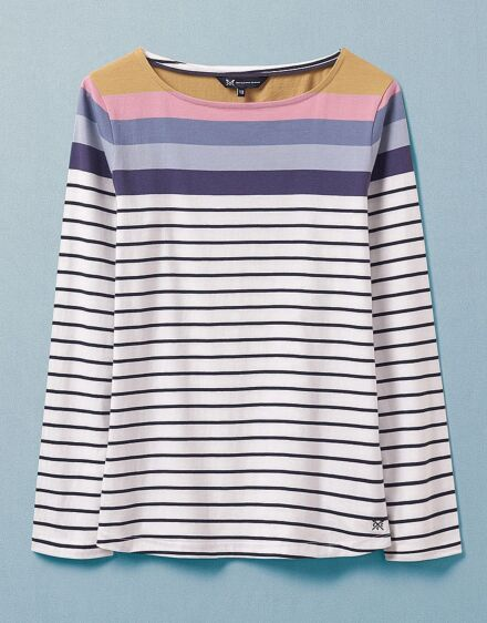 Crew Clothing Women's Long Sleeve Interest Breton Top Bright Blue Stripe