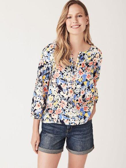 Crew Clothing Linen Blouse Garden Print