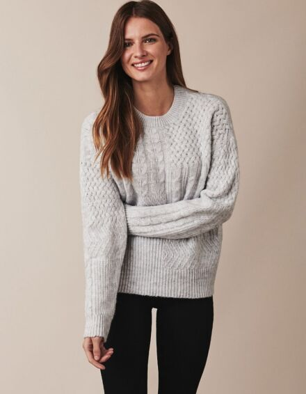 Crew Clothing Captain Cable Jumper Pale Grey Marl
