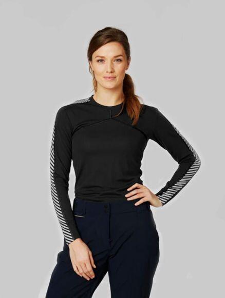 Helly Hansen Women's Lifa Active Stripe Crew Black